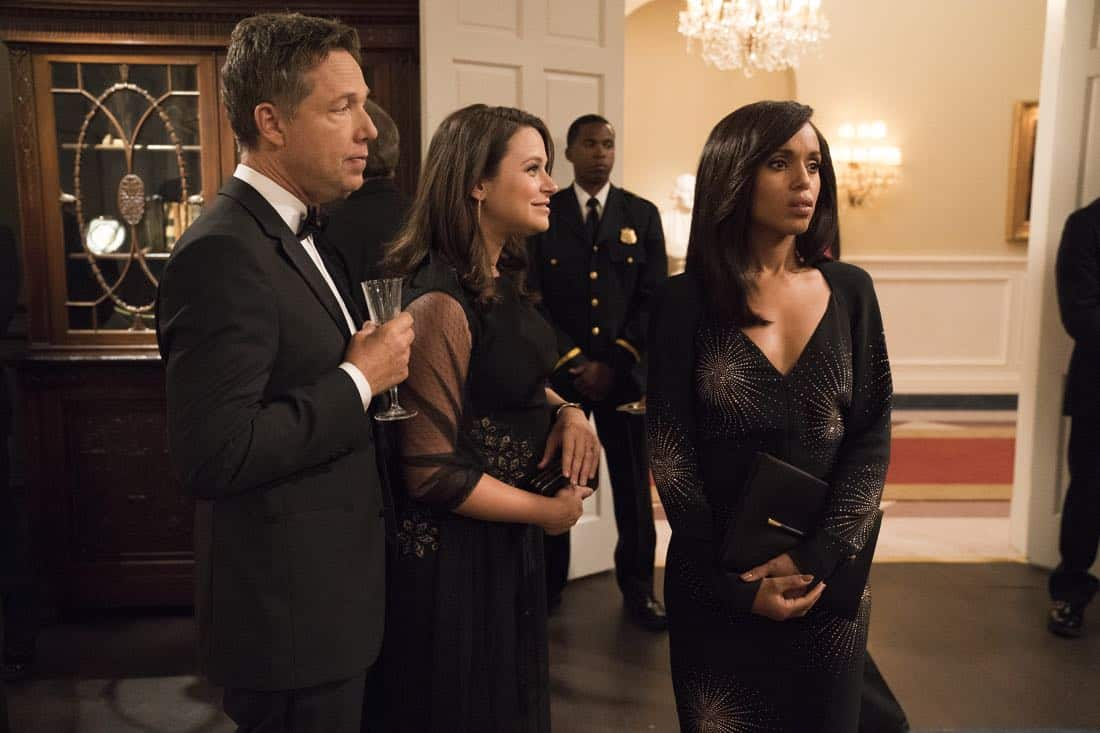 "SCANDAL - ""Pressing the Flesh"" - President Mellie Grant hosts a state dinner for President Rashad of Bashran in a first step toward peace in the Middle East, and in case Mellie's charm alone doesn't work, Olivia secretly puts Jake to work so that they are armed with a back-up plan. Meanwhile, the team at Quinn Perkins & Associates attends the party in hopes to gain more high-profile clientele, on ""Scandal,"" airing THURSDAY, OCTOBER 12 (9:00-10:00 p.m. EDT), on The ABC Television Network. (ABC/Mitch Haaseth) GEORGE NEWBERN, KATIE LOWES, KERRY WASHINGTON"