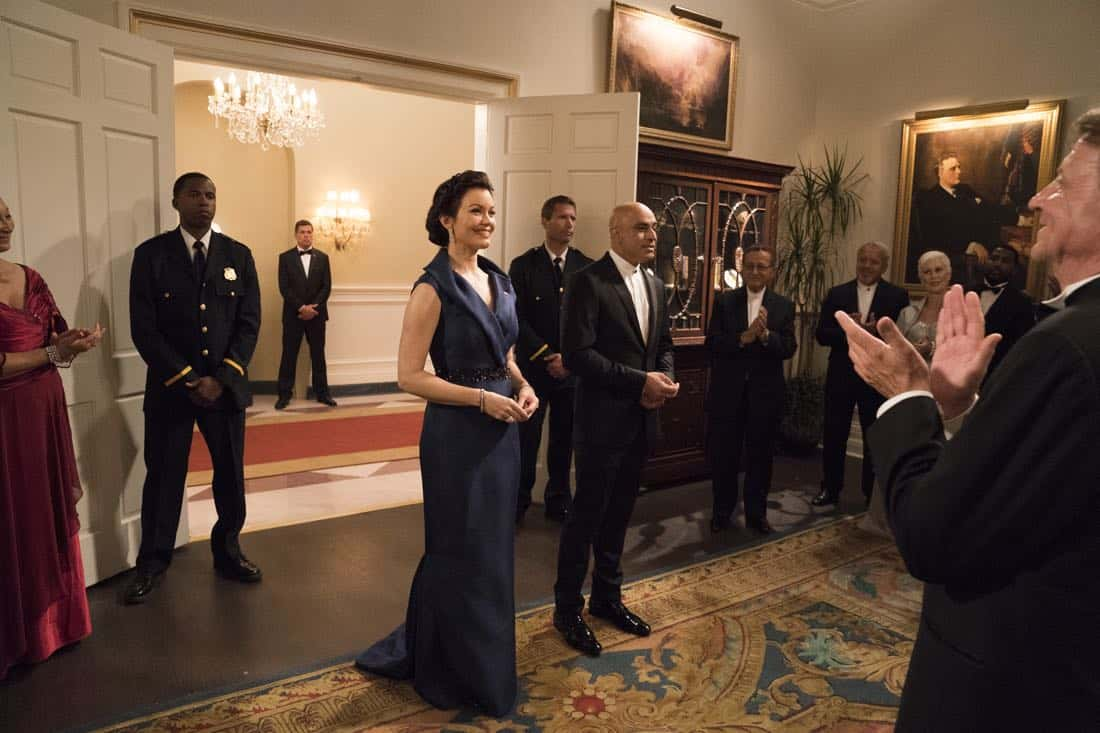 "SCANDAL - ""Pressing the Flesh"" - President Mellie Grant hosts a state dinner for President Rashad of Bashran in a first step toward peace in the Middle East, and in case Mellie's charm alone doesn't work, Olivia secretly puts Jake to work so that they are armed with a back-up plan. Meanwhile, the team at Quinn Perkins & Associates attends the party in hopes to gain more high-profile clientele, on ""Scandal,"" airing THURSDAY, OCTOBER 12 (9:00-10:00 p.m. EDT), on The ABC Television Network. (ABC/Mitch Haaseth) BELLAMY YOUNG, FARAN TAHIR"
