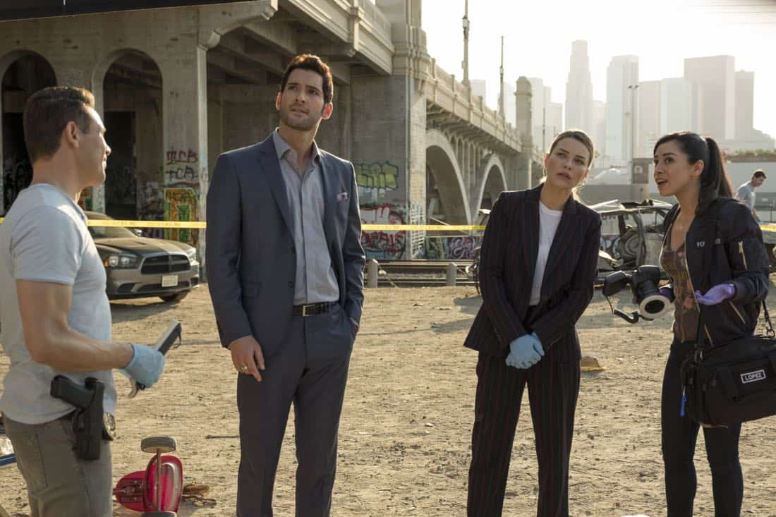 "LUCIFER: L-R: Kevin Alejandro, Tom Ellis, Lauren German and Aimee Garcia in the ""The One With The Baby Carrot"" episode of LUCIFER airing Monday, Oct. 9 (8:00-9:00 PM ET/PT) on FOX. Cr: John P Flexor/FOX"