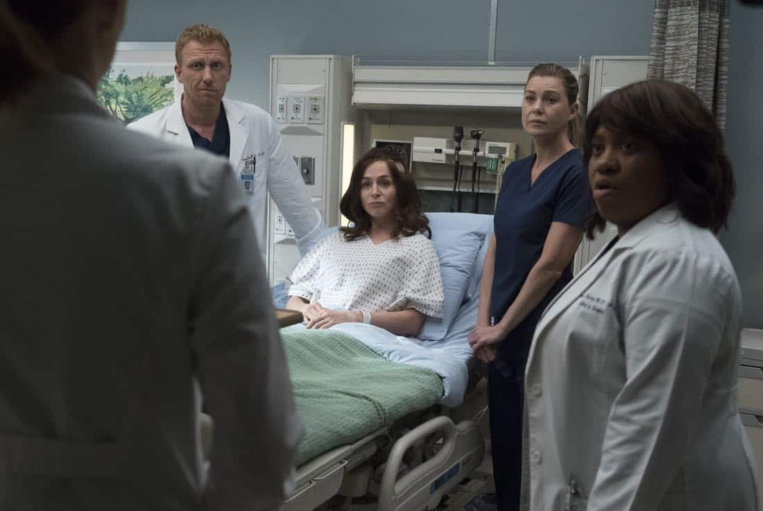 """GREY'S ANATOMY - """"Ain't That a Kick in the Head"""" - Amelia confronts a difficult situation, while Meredith deals with the fallout from her conversation with Nathan. Maggie finds herself at an awkward family dinner, Jackson receives big news, and Richard and Bailey search for the stars of tomorrow, on """"Grey's Anatomy,"""" THURSDAY, OCTOBER 12 (8:00-9:00 p.m. EDT), on The ABC Television Network. (ABC/Richard Cartwright) KEVIN MCKIDD, CATERINA SCORSONE, ELLEN POMPEO, CHANDRA WILSON"""