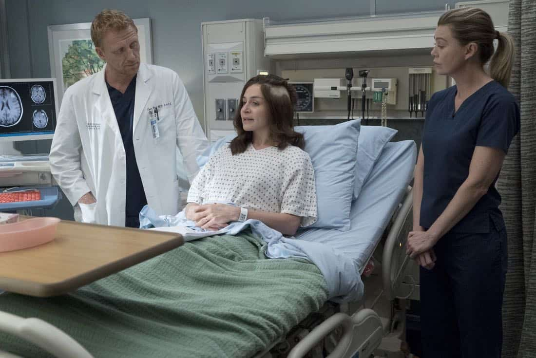 """GREY'S ANATOMY - """"Ain't That a Kick in the Head"""" - Amelia confronts a difficult situation, while Meredith deals with the fallout from her conversation with Nathan. Maggie finds herself at an awkward family dinner, Jackson receives big news, and Richard and Bailey search for the stars of tomorrow, on """"Grey's Anatomy,"""" THURSDAY, OCTOBER 12 (8:00-9:00 p.m. EDT), on The ABC Television Network. (ABC/Richard Cartwright) KEVIN MCKIDD, CATERINA SCORSONE, ELLEN POMPEO"""
