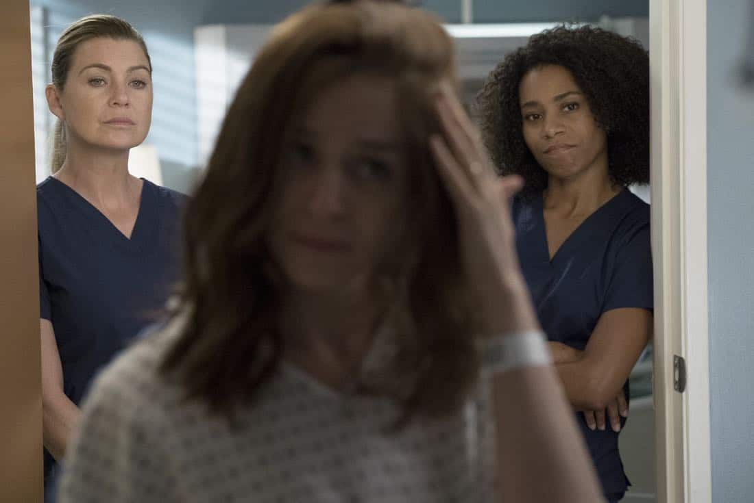 """GREY'S ANATOMY - """"Ain't That a Kick in the Head"""" - Amelia confronts a difficult situation, while Meredith deals with the fallout from her conversation with Nathan. Maggie finds herself at an awkward family dinner, Jackson receives big news, and Richard and Bailey search for the stars of tomorrow, on """"Grey's Anatomy,"""" THURSDAY, OCTOBER 12 (8:00-9:00 p.m. EDT), on The ABC Television Network. (ABC/Richard Cartwright) ELLEN POMPEO, CATERINA SCORSONE, KELLY MCCREARY"""