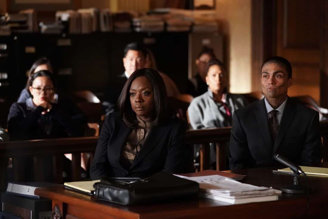 "HOW TO GET AWAY WITH MURDER - ""It's For the Greater Good"" - Annalise takes on a case for the greater good and quickly realizes the stakes are much higher than she originally thought. Meanwhile, Laurel asks Michaela to help get information regarding Wes' death and Connor makes a major life decision that is not supported by the group. In a flash-forward, a surprising confrontation during the night of the crime is revealed, on ""How to Get Away with Murder,"" THURSDAY, OCTOBER 12 (10:00-11:00 p.m. EDT), on The ABC Television Network. (ABC/Mitch Haaseth) VIOLA DAVIS, RENE MORAN"