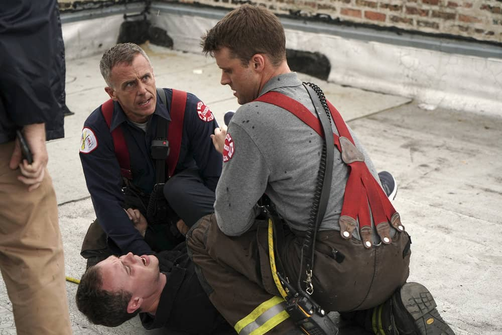 "CHICAGO FIRE -- ""An Even Bigger Surprise"" Episode 603 -- Pictured: (l-r) David Eigenberg as Christopher Hermann, Chris Holder as Dan Harris, Jesse Spencer as Matthew Casey -- (Photo by: Elizabeth Morris/NBC)"