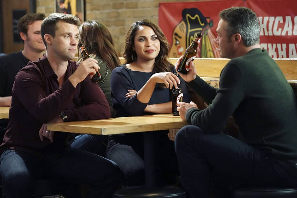 "CHICAGO FIRE -- ""An Even Bigger Surprise"" Episode 603 -- Pictured: (l-r) Jesse Spencer as Matthew Casey, Monica Raymund as Gabriela Dawson, Taylor Kinney as Kelly Severide -- (Photo by: Elizabeth Morris/NBC)"
