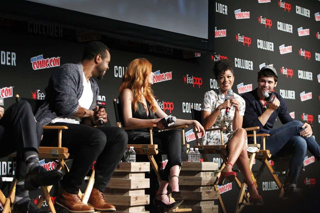 """NY COMIC-CON 2017 -SHADOWHUNTERS - Freeform's genre programming was out in full force at this year's New York Comic Con on Saturday, October 7th with executive producers and cast from the hit series """"Shadowhunters,"""" """"Beyond,"""" and new original series """"Siren."""" (Freeform/Lou Rocco) ISAIAH MUSTAFA, KATHERINE MCNAMARA, ALISHA WAINWRIGHT, MATTHEW DADDARIO"""
