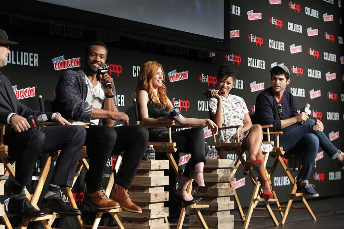 "NY COMIC-CON 2017 -SHADOWHUNTERS - Freeform's genre programming was out in full force at this year's New York Comic Con on Saturday, October 7th with executive producers and cast from the hit series ""Shadowhunters,"" ""Beyond,"" and new original series ""Siren."" (Freeform/Lou Rocco) MATT HASTINGS, (EXECUTIVE PRODUCER), ISAIAH MUSTAFA, KATHERINE MCNAMARA, ALISHA WAINWRIGHT, MATTHEW DADDARIO"