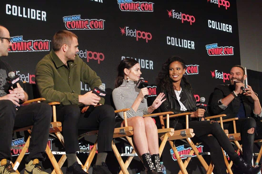 "NY COMIC-CON 2017 - SIREN - Freeform's genre programming was out in full force at this year's New York Comic Con on Saturday, October 7th with executive producers and cast from the hit series ""Shadowhunters,"" ""Beyond,"" and new original series ""Siren."" (Freeform/Lou Rocco) ERIC WALD (EXECUTIVE PRODUCER), ALEX ROE, ELINE POWELL, FOLA EVANS-AKINGBOLA, IAN VERDUN"