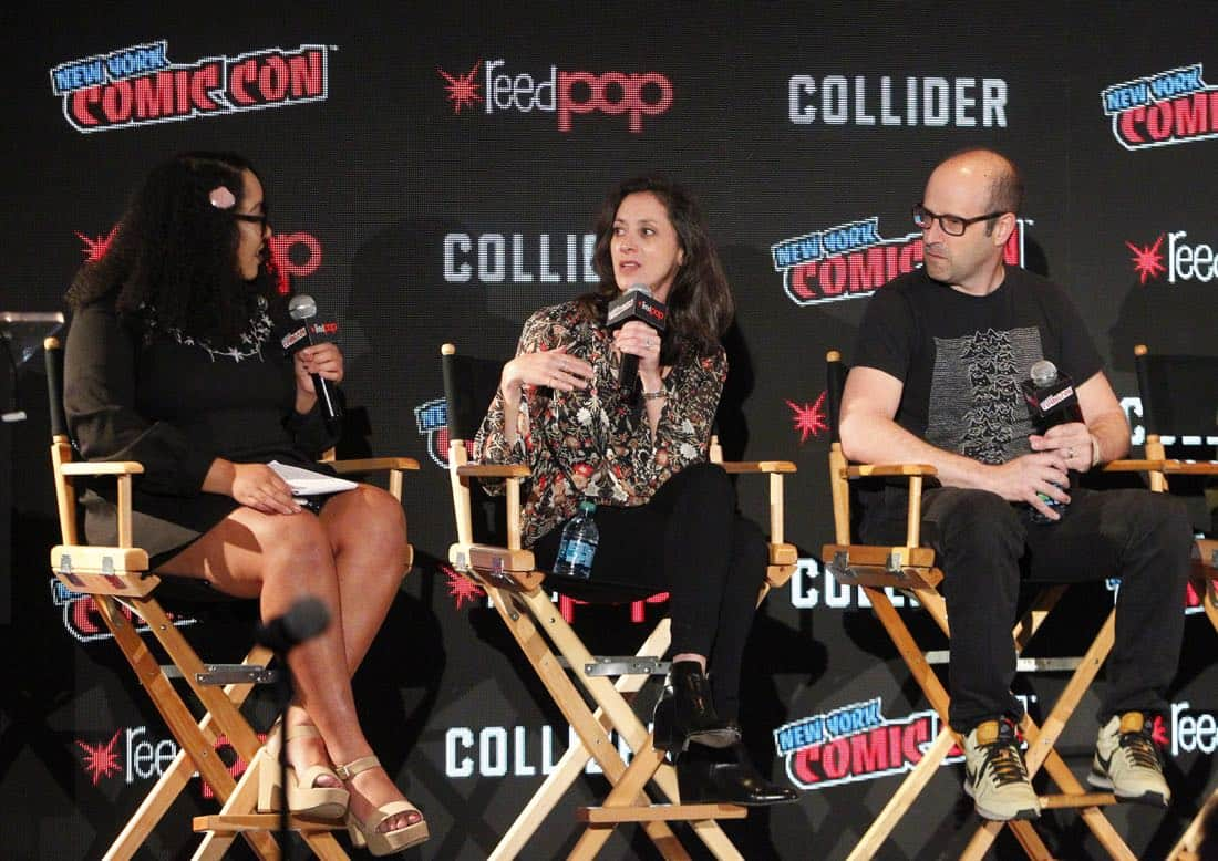 "NY COMIC-CON 2017 - SIREN - Freeform's genre programming was out in full force at this year's New York Comic Con on Saturday, October 7th with executive producers and cast from the hit series ""Shadowhunters,"" ""Beyond,"" and new original series ""Siren."" (Freeform/Lou Rocco) ARIANA ROMERO, EMILY WHITESELL (EXECUTIVE PRODUCER), ERIC WALD (EXECUTIVE PRODUCER)"
