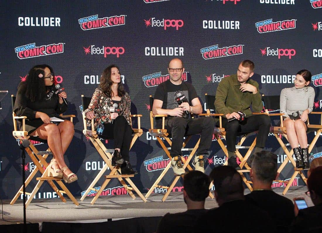 "NY COMIC-CON 2017 - SIREN - Freeform's genre programming was out in full force at this year's New York Comic Con on Saturday, October 7th with executive producers and cast from the hit series ""Shadowhunters,"" ""Beyond,"" and new original series ""Siren."" (Freeform/Lou Rocco) ARIANA ROMERO, EMILY WHITESELL (EXECUTIVE PRODUCER), ERIC WALD (EXECUTIVE PRODUCER), ALEX ROE, ELINE POWELL"