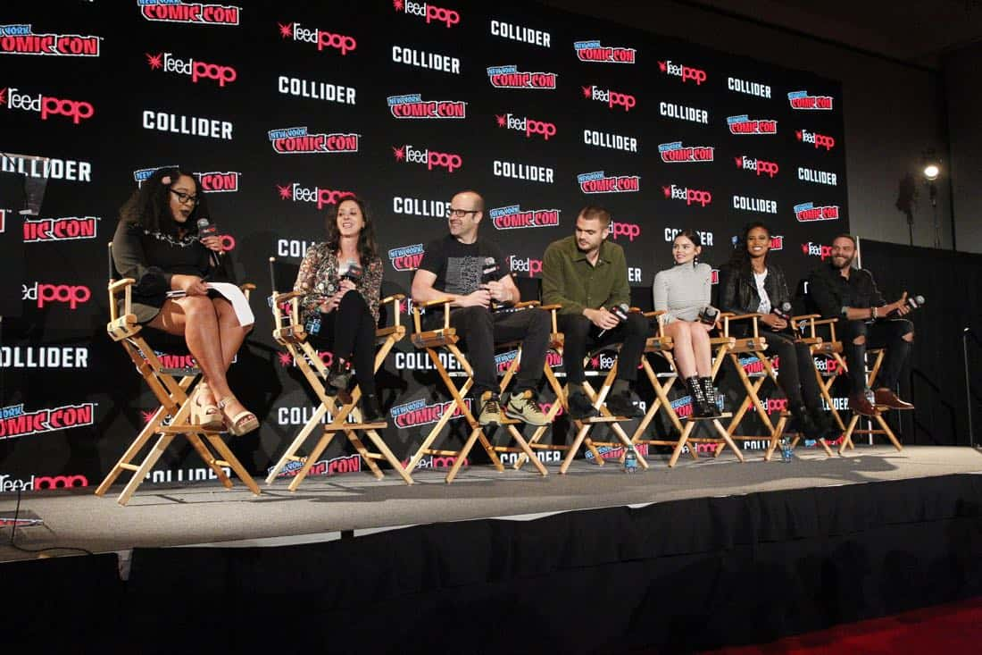 "NY COMIC-CON 2017 - SIREN - Freeform's genre programming was out in full force at this year's New York Comic Con on Saturday, October 7th with executive producers and cast from the hit series ""Shadowhunters,"" ""Beyond,"" and new original series ""Siren."" (Freeform/Lou Rocco) ARIANA ROMERO, EMILY WHITESELL (EXECUTIVE PRODUCER), ERIC WALD (EXECUTIVE PRODUCER), ALEX ROE, ELINE POWELL, FOLA EVANS-AKINGBOLA, IAN VERDUN"