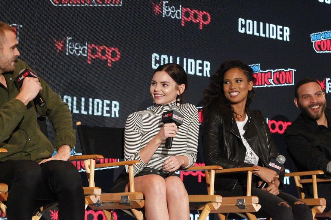 "NY COMIC-CON 2017 - SIREN - Freeform's genre programming was out in full force at this year's New York Comic Con on Saturday, October 7th with executive producers and cast from the hit series ""Shadowhunters,"" ""Beyond,"" and new original series ""Siren."" (Freeform/Lou Rocco) ALEX ROE, ELINE POWELL, FOLA EVANS-AKINGBOLA, IAN VERDUN"