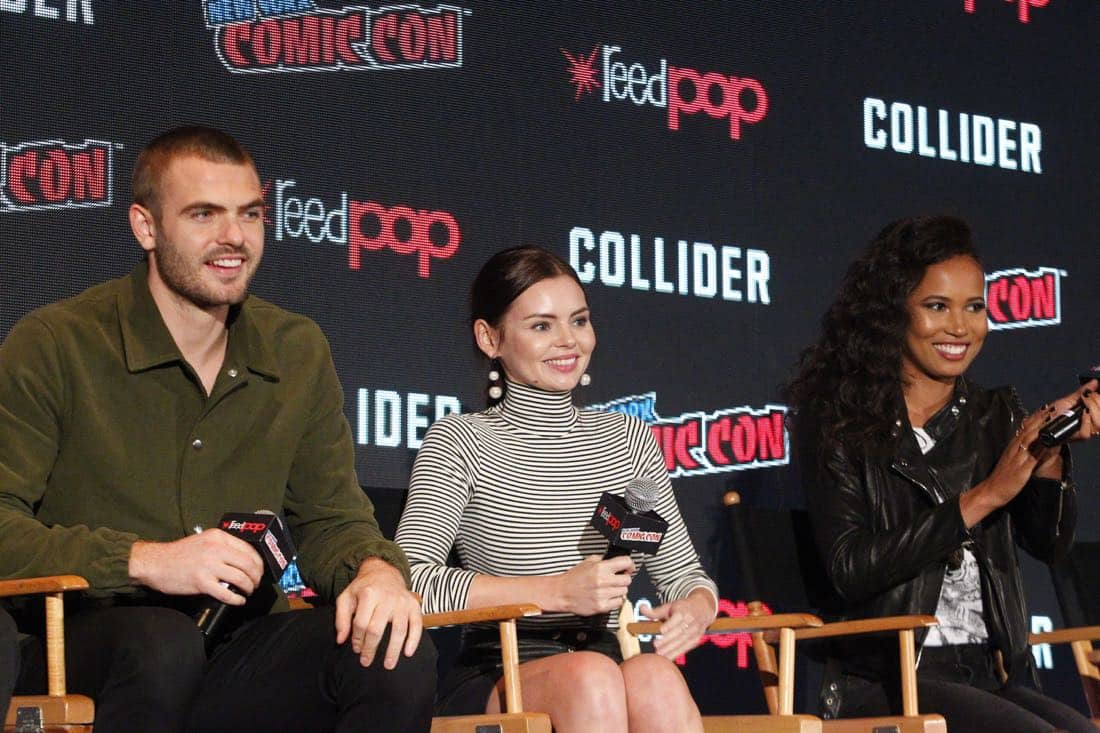 "NY COMIC-CON 2017 - SIREN - Freeform's genre programming was out in full force at this year's New York Comic Con on Saturday, October 7th with executive producers and cast from the hit series ""Shadowhunters,"" ""Beyond,"" and new original series ""Siren."" (Freeform/Lou Rocco) ALEX ROE, ELINE POWELL, FOLA EVANS-AKINGBOLA"