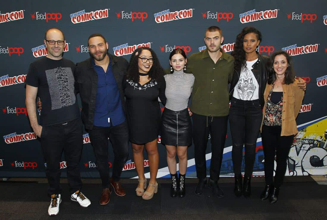 "NY COMIC-CON 2017 - SIREN - Freeform's genre programming was out in full force at this year's New York Comic Con on Saturday, October 7th with executive producers and cast from the hit series ""Shadowhunters,"" ""Beyond,"" and new original series ""Siren."" (Freeform/Lou Rocco) ERIC WALD (EXECUTIVE PRODUCER), IAN VERDUN, ARIANA ROMERO (MODERATOR), ELINE POWELL, ALEX ROE, FOLA EVANS-AKINGBOLA, EMILY WHITESELL (EXECUTIVE PRODUCER)"