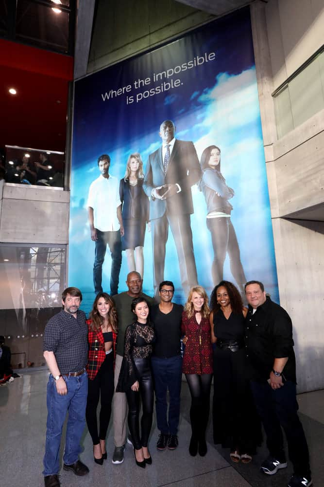 "NEW YORK COMIC CON -- ""Reverie"" -- Pictured: (l-r) Tom Szentgyorgi, Executive Producer, ""Reverie; Sarah Shahi; Dennis Haysbert; Jessica Lu; Sendhil Ramamurthy; Kathryn Morris; Pearlena Igbokwe, President, Universal Television; Mickey Fisher, Executive Producer, ""Reverie"" -- (Photo by: Heidi Gutman/NBC)"