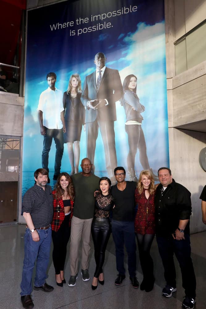 "NEW YORK COMIC CON -- ""Reverie"" -- Pictured: (l-r) Tom Szentgyorgi, Executive Producer, ""Reverie; Sarah Shahi; Dennis Haysbert; Jessica Lu; Sendhil Ramamurthy; Kathryn Morris; Mickey Fisher, Executive Producer, ""Reverie"" -- (Photo by: Heidi Gutman/NBC)"
