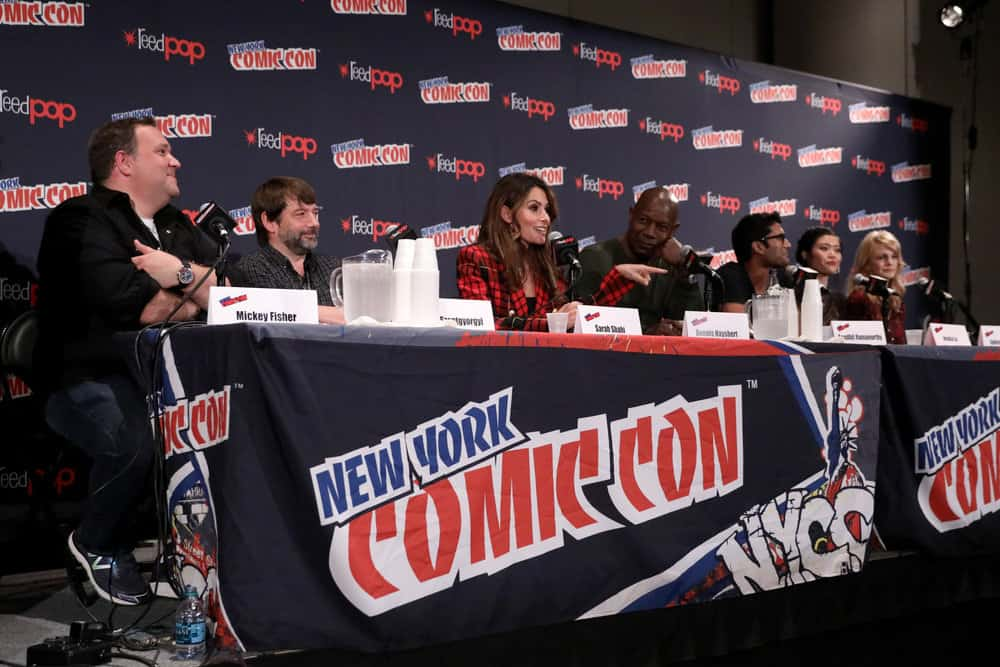 "NEW YORK COMIC CON -- ""Reverie"" -- Pictured: (l-r) Mickey Fisher and Tom Szentgyorgi, Executive Producers, ""Reverie""; Sarah Shahi, Dennis Haysbert, Sendhil Ramamurthy, Jessica Lu, Kathryn Morris -- (Photo by: Heidi Gutman/NBC)"