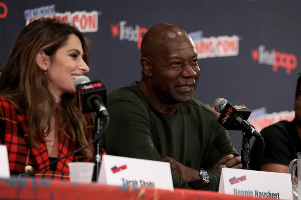"NEW YORK COMIC CON -- ""Reverie"" -- Pictured: (l-r) Sarah Shahi, Dennis Haysbert -- (Photo by: Heidi Gutman/NBC)"