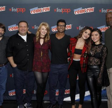 "NEW YORK COMIC CON -- ""Reverie"" -- Pictured: (l-r) Tom Szentgyorgi and Mickey Fisher, Executive Producers, ""Reverie""; Kathryn Morris, Sendhil Ramamurthy, Sarah Shahi, Jessica Lu, Dennis Haysbert -- (Photo by: Heidi Gutman/NBC)"