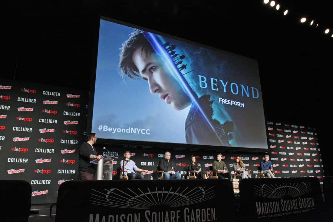 "NY COMIC-CON - BEYOND - Freeform's genre programming was out in full force at this year's New York Comic Con on Saturday, October 7th with executive producers and cast from the hit series ""Shadowhunters,"" ""Beyond,"" and new original series ""Siren."" (Freeform/Lou Rocco) DAMIAN HOLBROOK (MODERATOR), ADAM NUSSDORF (EXECUTIVE PRODUCER), DAVID EICK (EXECUTIVE PRODUCER), DILAN GWYN, BURKELYDUFFIELD, EDEN BROLIN, TIM KRING (EXECUTIVE PRODUCER)"