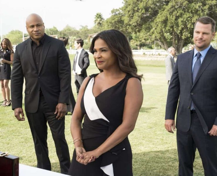 """""""Plain Sight"""" - Pictured: LL COOL J (Special Agent Sam Hanna), Nia Long (Executive Assistant Director Shay Mosley), and Chris O'Donnell (Special Agent G. Callen). After weapons with a $1 million street value are stolen, the team tracks the evidence to a wealthy charity event, prompting Mosley to be added to the guest list with Callen and Sam as her security detail, on NCIS: LOS ANGELES, Sunday, Oct. 22 (9:30-10:30 PM, ET/9:00-10:00 PM, PT) on the CBS Television Network. Photo: Jessica Brooks/CBS ©2017 CBS Broadcasting, Inc. All Rights Reserved"""