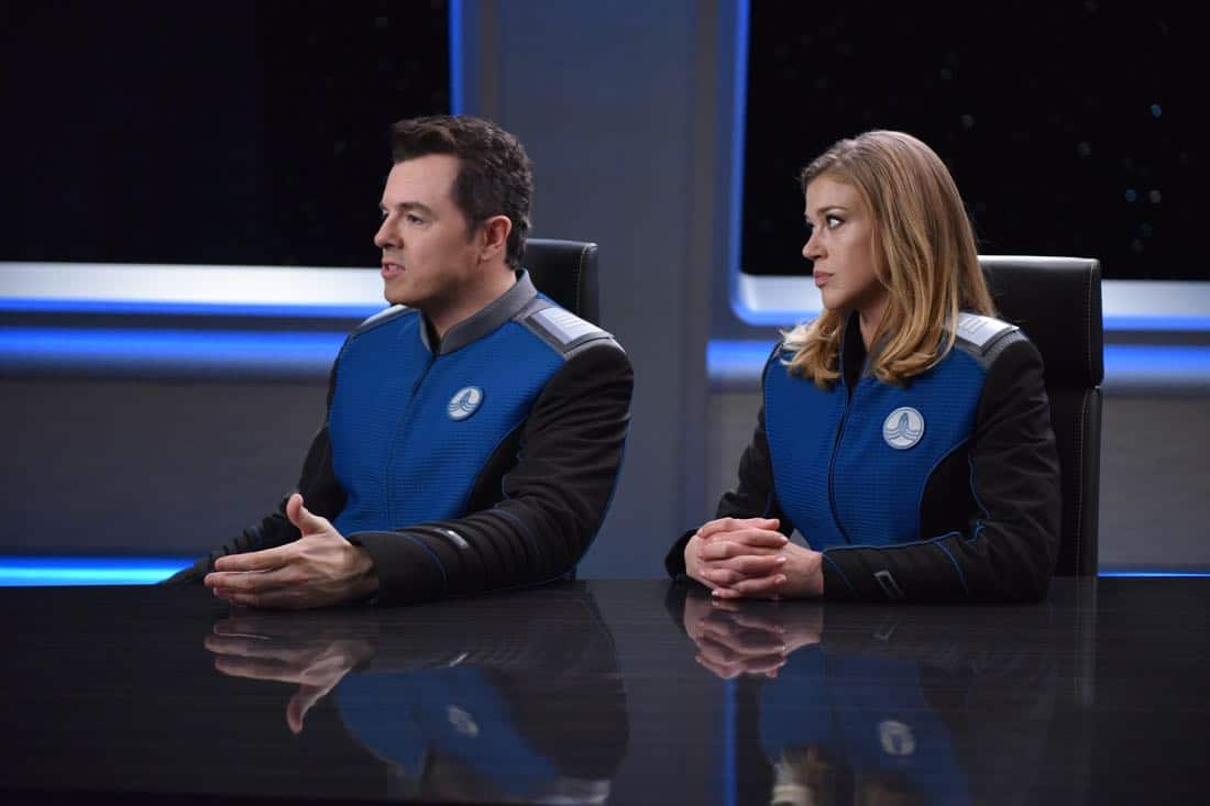 "THE ORVILLE: L-R: Seth MacFarlane and Adrianne Palicki in the ""Krill"" episode of THE ORVILLE airing Thursday, Oct. 12 (9:01-10:00 PM ET/PT) on FOX. ©2017 Fox Broadcasting Co. Cr: Michael Becker/FOX"