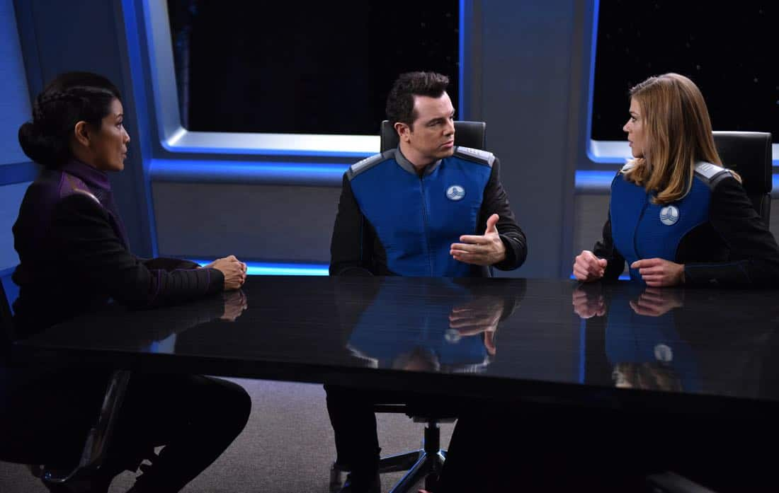 "THE ORVILLE: L-R: Guest star Kelly Hu, Seth MacFarlane and Adrianne Palicki in the ""Krill"" episode of THE ORVILLE airing Thursday, Oct. 12 (9:01-10:00 PM ET/PT) on FOX. ©2017 Fox Broadcasting Co. Cr: Michael Becker/FOX"