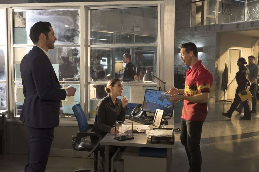 "LUCIFER: L-R: Tom Ellis, Lauren German and Kevin Alejandro in the ""Mr. and Mrs. Mazikeen Smith"" episode of LUCIFER airing Monday, Oct. 16 (8:00-9:00 PM ET/PT) on FOX. CR: MICHAEL COURTNEY/FOX"