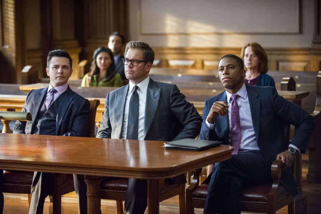 """A Business of Favors""-- The DA's office asks Bull to assist them in their prosecution of a fraternity when a pledge accidentally drowns during a hazing incident, but his efforts may be derailed when the students close ranks to stonewall him, on BULL, Tuesday, Oct 10th (9:00-10:00 PM, ET/PT) on the CBS Television Network Pictured L-R: Freddy Rodriguez as Benny Colón, Michael Weatherly as Dr. Jason Bull, and Tyrone Brown as ADA Richard Abernathy Photo: Jeffrey Neira/CBS ©2017 CBS Broadcasting, Inc. All Rights Reserved"