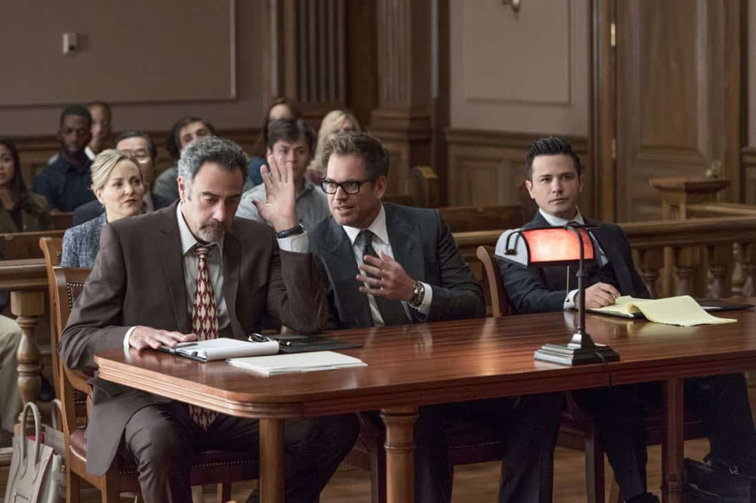 """The Illusion of Control""-- Bull hires an eccentric lawyer to represent him when a celebrity sues him after his advice regarding her custody case backfires, on BULL, Tuesday, Oct 17 (9:00-10:00 PM, ET/PT) on the CBS Television Network. Pictured L-R: Brad Garrett as Ron Getman, Michael Weatherly as Dr. Jason Bull, and Freddy Rodriguez as Benny Colón Photo: David Giesbrecht/CBS ©2017 CBS Broadcasting, Inc. All Rights Reserved"