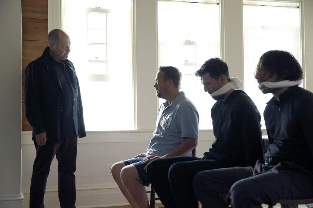 "THE BLACKLIST -- ""The Endling"" Episode 504 -- Pictured: (l-r) James Spader as Raymond ""Red"" Reddington, Lenny Venito as Tony Pagliaro -- (Photo by: Will Hart/NBC)"