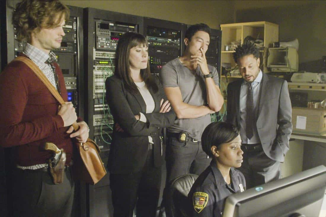 """Blue Angel"" -- When successful businessmen in Detroit are targeted by an anger-driven power-assertive Unsub, the BAU is called in to investigate, on CRIMINAL MINDS, Wednesday, Oct. 11 (10:00-11:00 PM, ET/PT) on the CBS Television Network.  Pictured: Matthew Gray Gubler (Dr. Spencer Reid), Paget Brewster (Emily Prentiss), Daniel Henney (Matt Simmons), Brandon Jay McLaren (Captain Adrian Scott), Monique Gall (Officer Cenisa Royce)     Photo: Best Screen Grab Available ©2017 CBS Broadcasting, Inc. All Rights Reserved"
