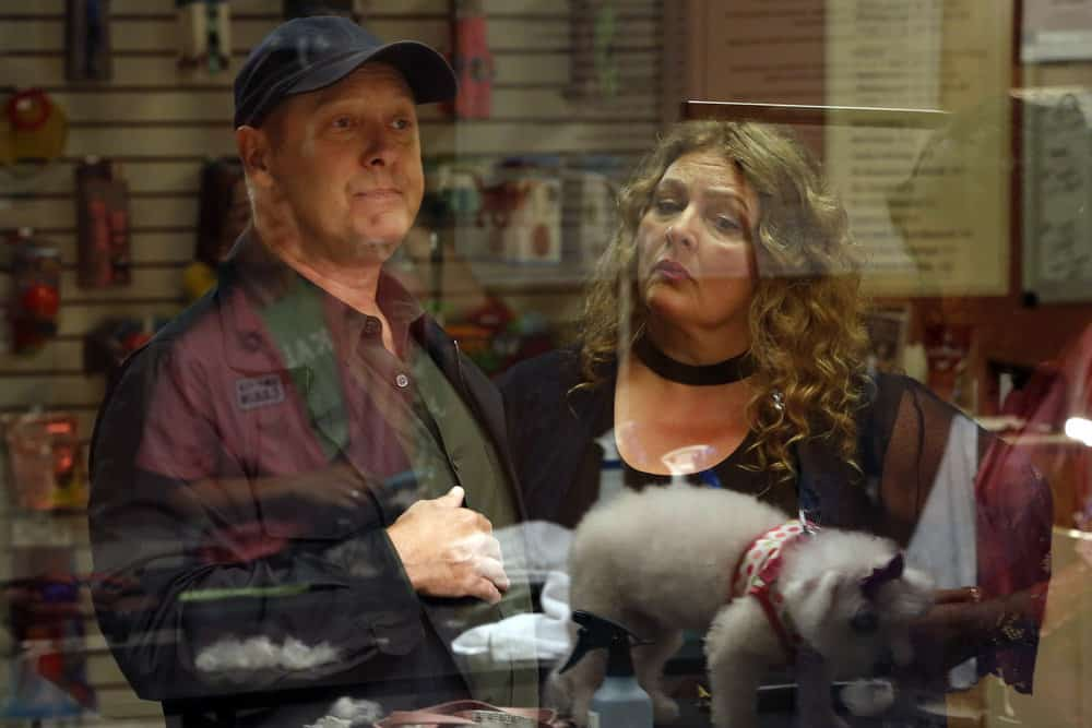 "THE BLACKLIST -- ""Ilyas Surkov (#54)"" Episode 505 -- Pictured: (l-r) James Spader as Raymond ""Red"" Reddington, Aida Turturro as Heddie Hawkins -- (Photo by: Will Hart/NBC)"
