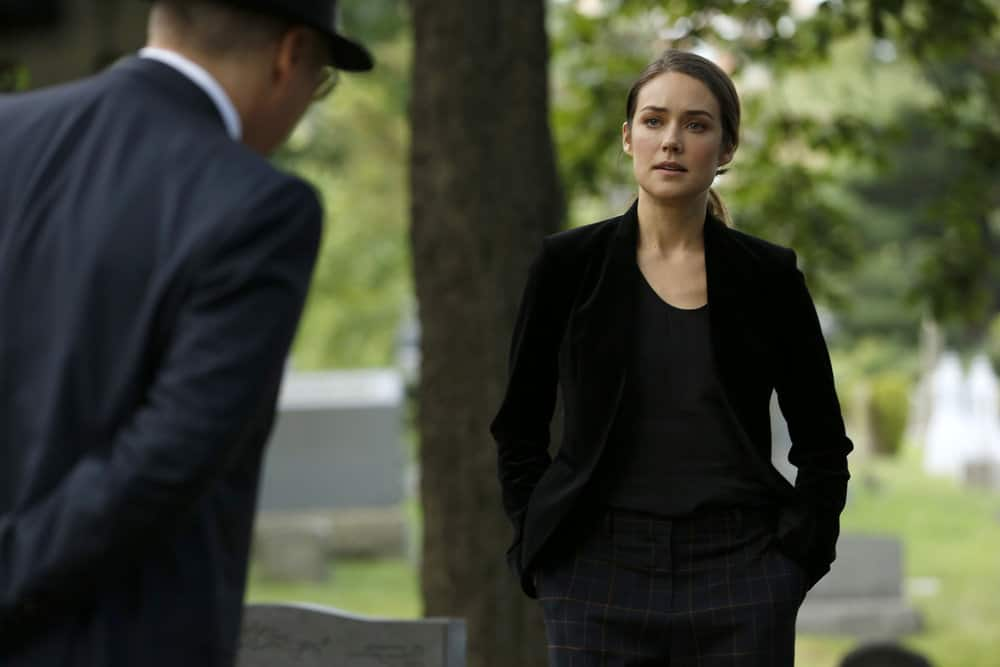 "THE BLACKLIST -- ""Ilyas Surkov (#54)"" Episode 505 -- Pictured: (l-r) James Spader as Raymond ""Red"" Reddington, Megan Boone as Elizabeth Keen -- (Photo by: Will Hart/NBC)"