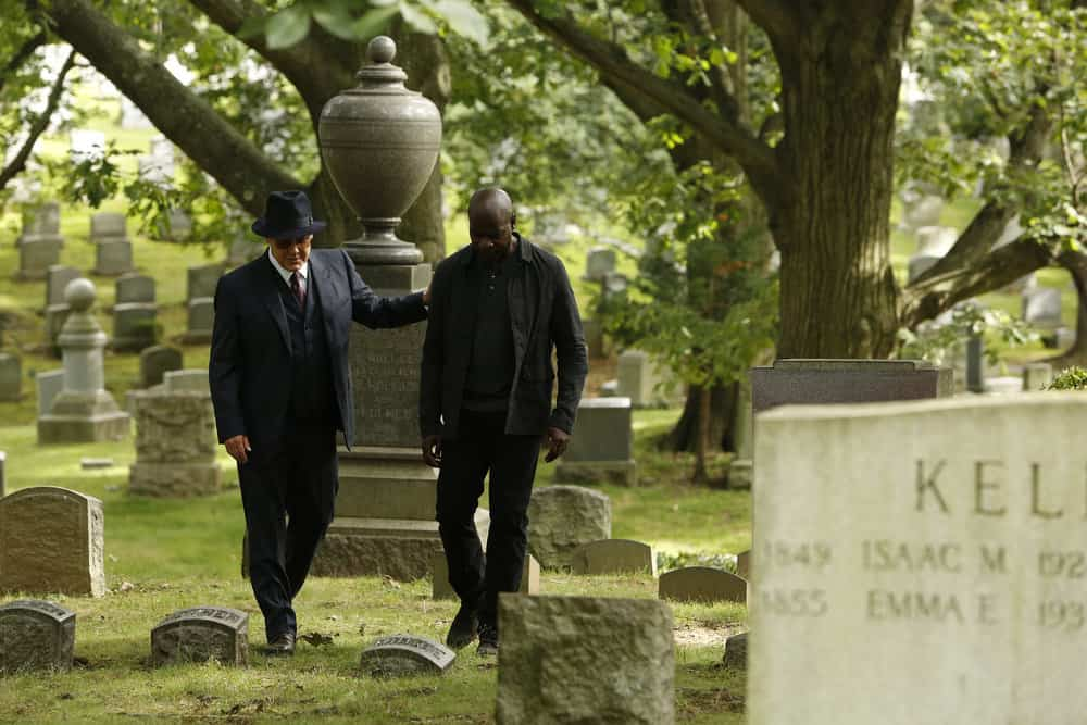 "THE BLACKLIST -- ""Ilyas Surkov (#54)"" Episode 505 -- Pictured: (l-r) James Spader as Raymond ""Red"" Reddington, Hisham Tawfiq as Dembe Zuma -- (Photo by: Will Hart/NBC)"