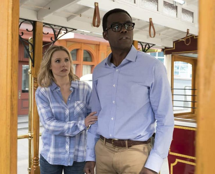 """THE GOOD PLACE -- """"The Trolley Problem"""" Episode 206 -- Pictured: (l-r) Kristen Bell as Eleanor, William Jackson Harper as Chidi -- (Photo by: Colleen Hayes/NBC)"""
