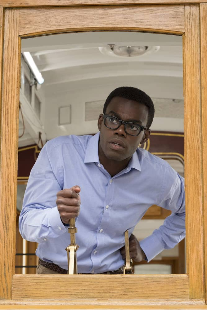"THE GOOD PLACE -- ""The Trolley Problem"" Episode 206 -- Pictured: William Jackson Harper as Chidi -- (Photo by: Colleen Hayes/NBC)"