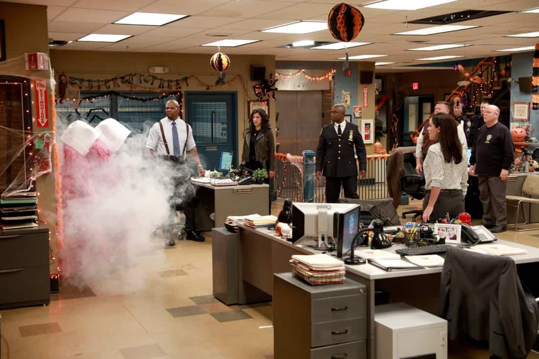 BROOKLYN NINE-NINE: L-R: Terry Crews, Stephanie Beatriz, Andre Braugher, Joel McKinnon Miller, Dirk Blocker and Melissa Fumero in the ???HalloVeen??? episode of BROOKLYN NINE-NINE airing Tuesday, Oct. 17 (9:30-10:00 PM ET/PT) on FOX. CR: JORDIN ALTHAUS/FOX