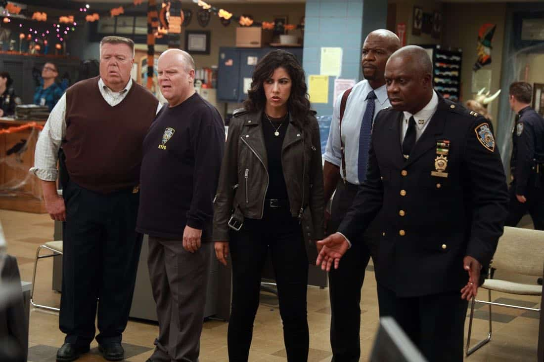 BROOKLYN NINE-NINE: L-R: Joel McKinnon Miller, Dirk Blocker, Stephanie Beatriz, Terry Crews and Andre Braugher in the ???HalloVeen??? episode of BROOKLYN NINE-NINE airing Tuesday, Oct. 17 (9:30-10:00 PM ET/PT) on FOX. CR: JORDIN ALTHAUS/FOX