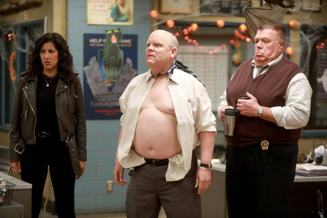 "BROOKLYN NINE-NINE: L-R: Stephanie Beatriz, Dirk Blocker and Joel McKinnon Miller in the ""HalloVeen"" episode of BROOKLYN NINE-NINE airing Tuesday, Oct. 17 (9:30-10:00 PM ET/PT) on FOX. CR: JORDIN ALTHAUS/FOX"