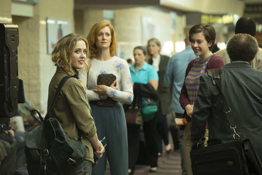 Kerry Bishe as Donna Emerson, Susanna Skaggs as Haley Clark, Kathryn Newton as Joanie Clark - Halt and Catch Fire _ Season 4, Episode 9 - Photo Credit: Bob Mahoney/AMC