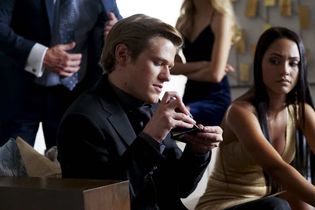 """Roulette Wheel + Wire"" -- Using cuff links and wire, MacGyver and the team go undercover in a high stakes casino to steal diamonds from a vault before a terrorist group gets there first and trades the jewels for a weapon of mass destruction, on MACGYVER, Friday, Oct. 13 (8:00-9:00 PM, ET/PT) on the CBS Television Network. Pictured: Lucas Till, Tristin Mays Photo: Quantrell Colbert/CBS ©2017 CBS Broadcasting, Inc. All Rights Reserved"
