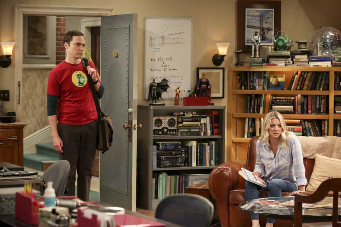 """The Collaboration Contamination"" -- Pictured: Sheldon Cooper (Jim Parsons) and Penny (Kaley Cuoco). Sheldon and Koothrappali confide in Bernadette when they can't handle Amy and Wolowitz working together. Also, Penny and Leonard learn new tactics for how to deal Sheldon from an unlikely source, on THE BIG BANG THEORY, Monday, Oct. 23 (8:00-8:31 PM, ET/PT) on the CBS Television Network. Photo: Michael Yarish/Warner Bros. Entertainment Inc. © 2017 WBEI. All rights reserved."