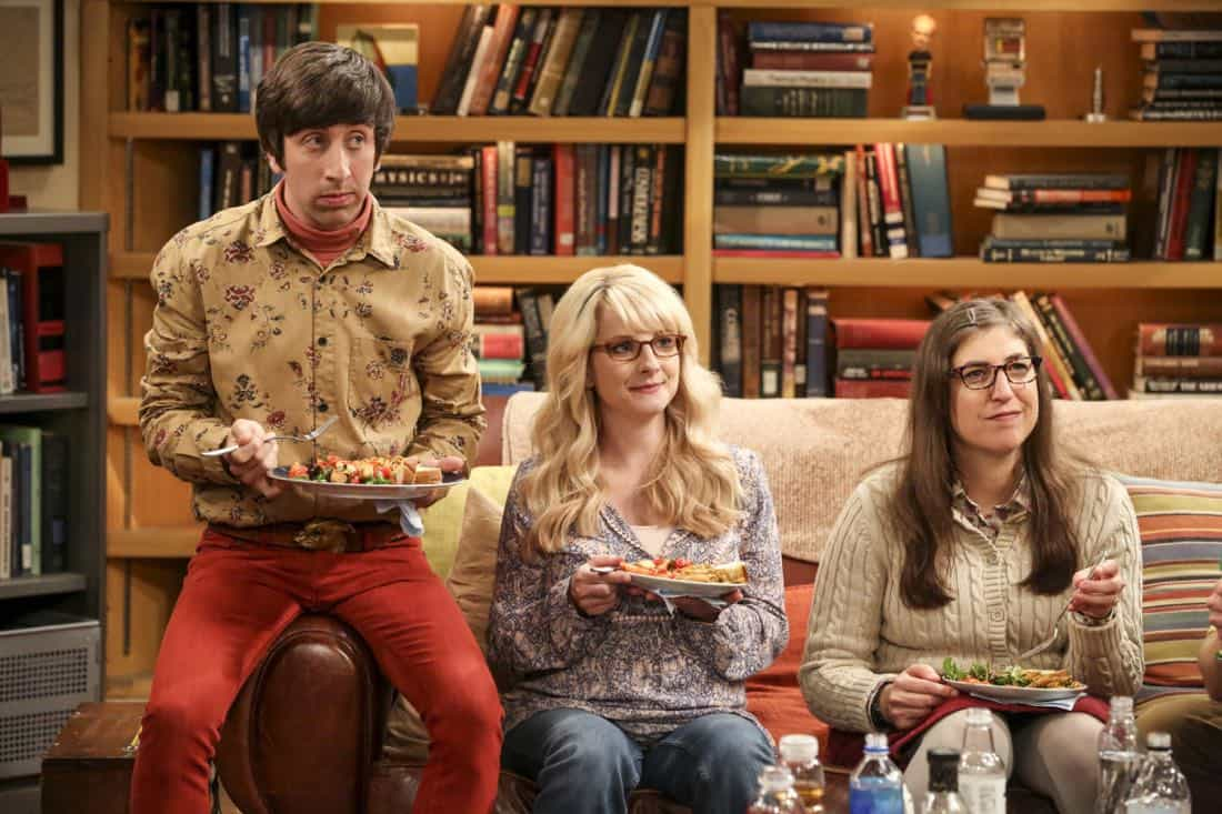 """""""The Collaboration Contamination"""" -- Pictured: Howard Wolowitz (Simon Helberg), Bernadette (Melissa Rauch) and Amy Farrah Fowler (Mayim Bialik). Sheldon and Koothrappali confide in Bernadette when they can't handle Amy and Wolowitz working together. Also, Penny and Leonard learn new tactics for how to deal Sheldon from an unlikely source, on THE BIG BANG THEORY, Monday, Oct. 23 (8:00-8:31 PM, ET/PT) on the CBS Television Network. Photo: Michael Yarish/Warner Bros. Entertainment Inc. © 2017 WBEI. All rights reserved."""