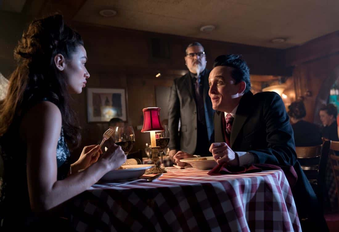 "GOTHAM: L-R: Crystal Reed and Robin Lord Taylor in the ""A Dark Knight: The Blade's Path"" episode of GOTHAM airing Thursday, Oct. 19 (8:00-9:01 PM ET/PT) on FOX.  CR:  Jessica Miglio/FOX"