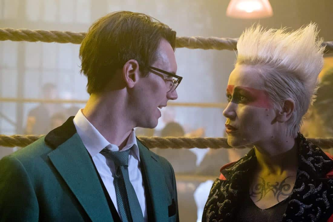 "GOTHAM: L-R: Cory Michael Smith and guest star Marina Benedict in the ""A Dark Knight: The Blade's Path"" episode of GOTHAM airing Thursday, Oct. 19 (8:00-9:01 PM ET/PT) on FOX.  CR:  Jessica Miglio/FOX"