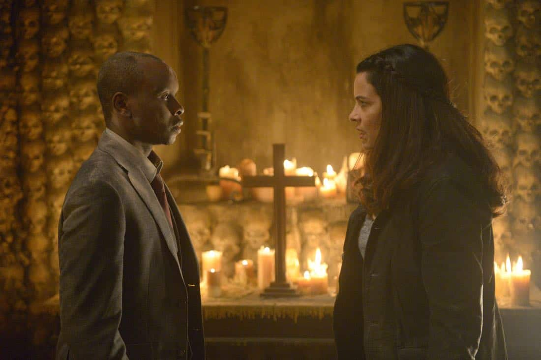 "THE EXORCIST:  L-R:  Kurt Egyiawan and Zuleikha Robinson in the ""One For Sorrow"" episode of THE EXORCIST airing Friday, Oct. 20 (9:01-10:00 PM ET/PT) on FOX.  ©2017 Fox Broadcasting Co.  Cr:  Sergei Bachlakov/FOX"