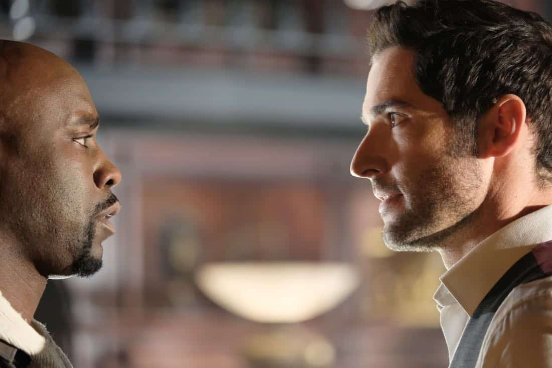 "LUCIFER: L-R: DB Woodside and Tom Ellis in the ""What Would Lucifer Do?"" episode of LUCIFER airing Monday, Oct. 23 (8:00-9:00 PM ET/PT) on FOX. CR: FOX"