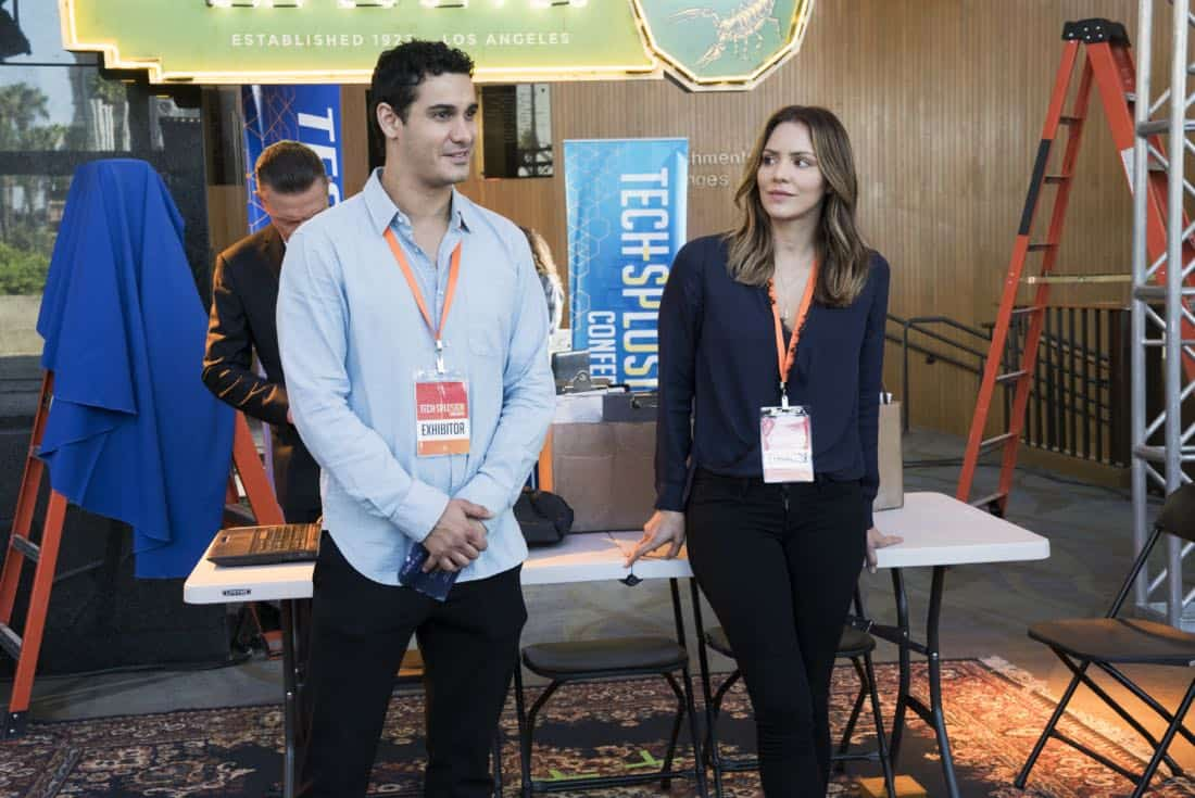 """Sci Hard"" -- While attending a tech convention, Team Scorpion is taken hostage by a group attempting a virtual heist, on SCORPION, Monday, Oct. 23 (10:00-11:00 PM, ET/PT) on the CBS Television Network. Pictured: Elyes Gabel, Katharine McPhee.   Photo: Bill Inoshita/CBS ©2017 CBS Broadcasting, Inc. All Rights Reserved"