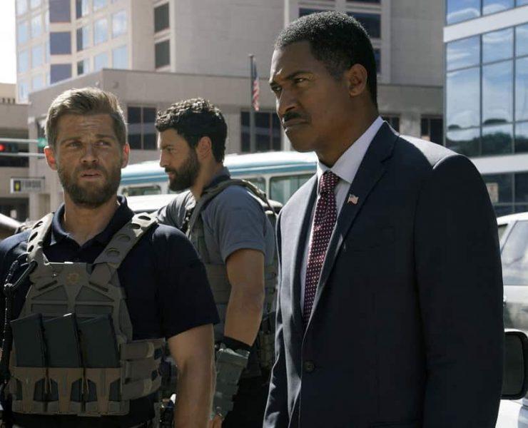 """THE BRAVE -- """"Enhanced Interrogation"""" Episode 105 -- Pictured: (l-r) Mike Vogel as Captain Adam Dalton, Noah Mills as Sergeant Joseph """"McG"""" McGuire -- (Photo by: Ursula Coyote/NBC)"""